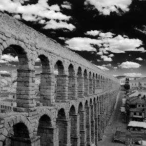 Aqueduct of Segovia by Gabriel Tocu - Buildings & Architecture Public & Historical ( black & white photography, buildings and architecture, aqueduct, segovia, aqueduct of segovia, spain,  )