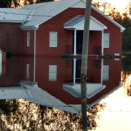 Grifton Church Reflected in Flood Waters by Lee Smith Vasquez - Digital Art Places ( church reflection, flooded church )