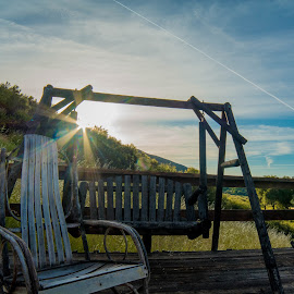 Rustic Furniture on the Mountain by Josh Melton - Artistic Objects Furniture ( chair, rocking, bench, sunrise, swing )