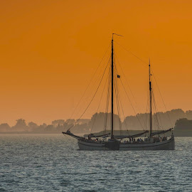 Golden Hour by Chris Bartell - Transportation Boats ( sail, lake, landscape, boat, golden )