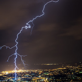 Electrified by Matic Cankar - Landscapes Weather ( lightning, coast, storm, city, night, thunder, clouds, landscape, sea )