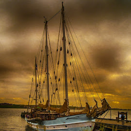 Sundown after Storm by Richard Michael Lingo - Transportation Boats ( nova scotia, sunset, transportation, storm, boat )