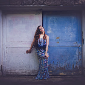 Blue Dress by Annamarie Dearr - Babies & Children Child Portraits ( glamour, fashion, girl, young adult, red hair, blue, teen, dress, beautiful, door, maxi dress, beauty, pretty, young, portrait,  )