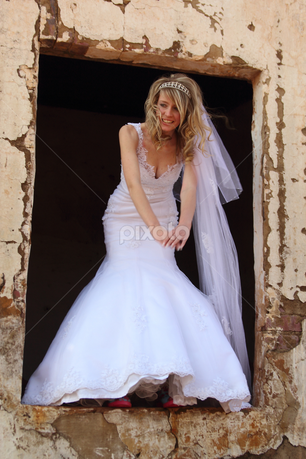 by Johan Niemand - Wedding Bride ( girl, window, woman, dress, wedding, veil, bride )