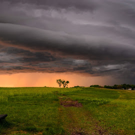 Storm by Garces & Garces - City,  Street & Park  City Parks ( clouds, cloud formations, stormy, bench, park, sunset, weather, storm, prairie )