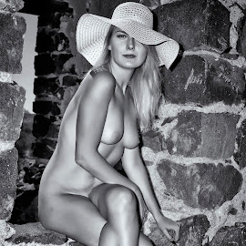 The Hat by Kens Yeaglin - Nudes & Boudoir Artistic Nude ( old mine, model, nude, black and white, outdoors, sasco, hat )