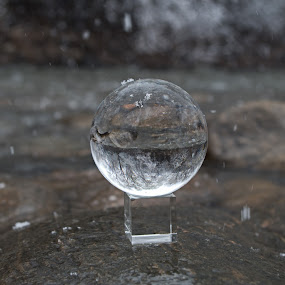 Snowy Creek by Logan Knowles - Artistic Objects Glass ( water, creek, snow, sphere, crystal,  )