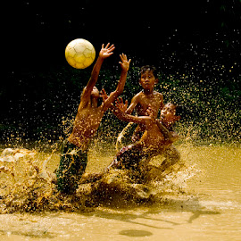 Goaaaalll.....!! by Aprison Aprison - Sports & Fitness Soccer/Association football ( ball, mud, children, morning, soccer )