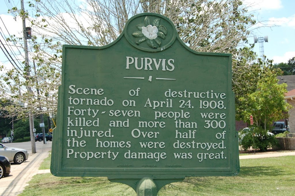 Scene of destructive tornado on April 24, 1908. Forty-seven people were killed and more than 300 injured. Over half of the homes were destroyed. Property damage was great.