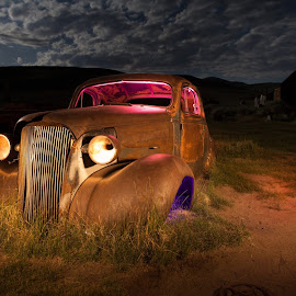 It was too cloudy for star/milky way shots so we had some fun light painting in Bodie Ghost town24mm, f/4, 25 sec, ISO 200 by Kristine Muller - Transportation Automobiles (  )