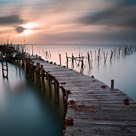 by Aris Klempetsanis - Buildings & Architecture Bridges & Suspended Structures ( sunset, carrasqueira, pier, seascape )