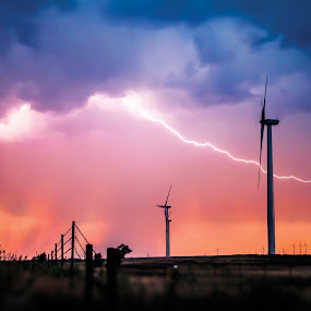 Natures Power by Glenn Patterson - Landscapes Weather ( wind, thunderstorm, colorful, storm, pretty, field, lightning, sky, sunset, weather, power, windmill, rain )