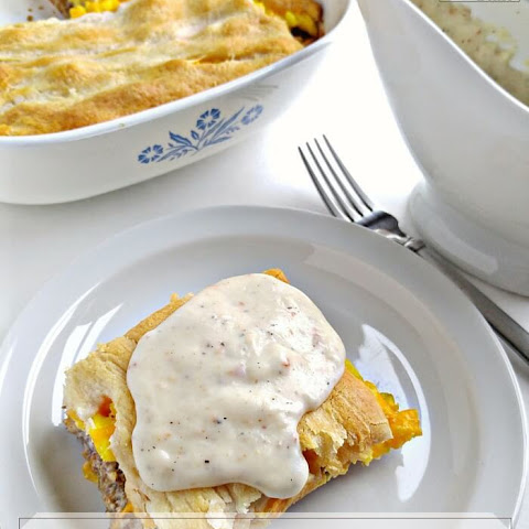 Sausage Egg Crescent Roll Casserole, with Homemade Gravy