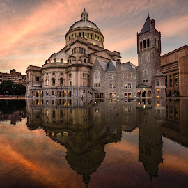 Beauty of Science by Givanni Mikel - Buildings & Architecture Places of Worship ( christian science, reflection, boston, church, sunset )