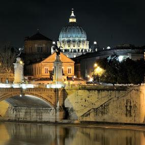 Tiber and St. Peter's Dome by Fabio Ponzi - City,  Street & Park  Vistas ( san pietro, night, st peter, water light, tiber, river )