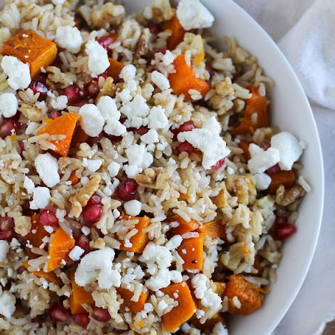 Brown Rice with Butternut Squash, Pomegranate Seeds, and Goat Cheese