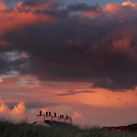Sunset by Ian Pinn - Buildings & Architecture Homes ( clouds, houses, grass, sunset, chimmney )