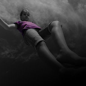 Floating Feet by Domenic Gorin - Digital Art People ( cool, flying, girl, b&w, purple, floating, feet )