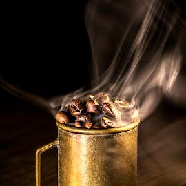Hot coffee beans by Dumitru Doru - Food & Drink Ingredients ( ingredients, aroma, beans, drink, coffee, hot, arabian, restaurant, morning )