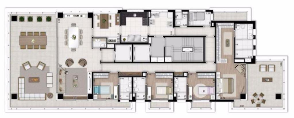 Planta Tipo 4 Suítes - 340 m²