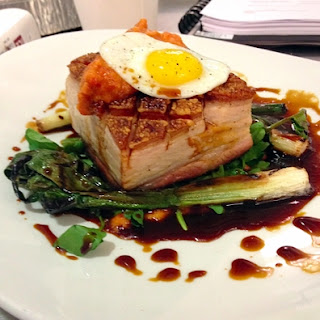 Slow Roasted Pork Belly with Sherry Vinegar Jus, Grilled Baby Leeks and Fried Quail Egg