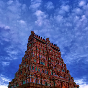 Temple Tower, Chidambaram Natarajar Temple by Muthu Kumar - Buildings & Architecture Places of Worship ( temple, natarajar temple, hdr, dancing god, india, kovil, chidambaram, shiva, siva, gopuram, tamilnadu )