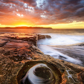 The Whirlpool by Geoffrey Wols - Landscapes Sunsets & Sunrises ( pearl beach, rockpol, sun water, sunset, australia, nsw, beach, sunrise, swirls, central coast, colours )