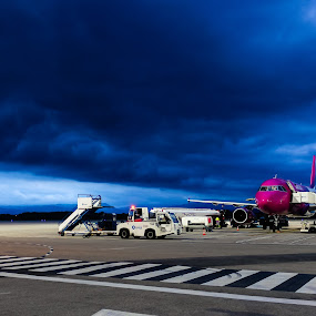 A Deep Blue by Andrey Dayen - Landscapes Cloud Formations ( airport, sky, blue, cloud, landscape, spain )