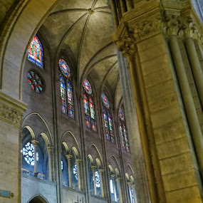 Stained Glass of Notre Dame by Koenraad De Roo - Buildings & Architecture Places of Worship ( interior, tourist, gothic, europe, church, france, travel, stained glass, destination,  )