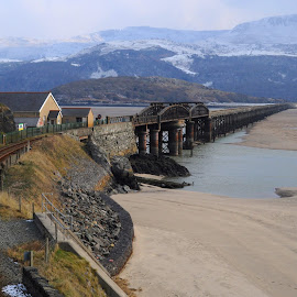 To Cross the Mawddach by DJ Cockburn - Buildings & Architecture Bridges & Suspended Structures ( civil engineering, mountain, wales, railroad, winterscape, beach, landscape, barmouth, nature, cold, barmouth bridge, afon mawddach, snow, snowdonia, gwynedd, abermaw, water, uk, estuary, cambrian line, barmouth viaduct, winter, river mawddach, railway, victorian, bridgefield house, britain )