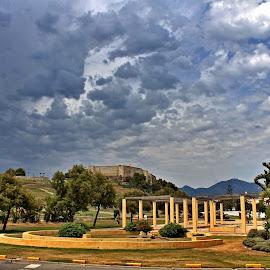 Castle of Fuengirola by Roar Randeberg - Landscapes Cloud Formations ( clouds, nature, buildings, cloudscape, castle )