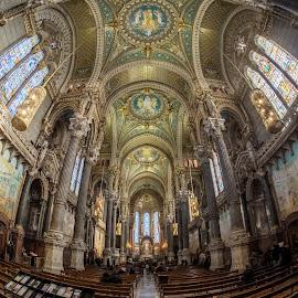 La Basilique Notre Dame de Fourvière by Andreas Huppert - Buildings & Architecture Places of Worship ( fisheye, church, hdr, gold, basilica, lyon )