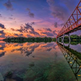 Calmness @ Halus Bridge by Gordon Koh - Buildings & Architecture Bridges & Suspended Structures ( calm, clouds, reflection, red, calmness, asia, sunrise, bridge, lorong halus, singapore, punggol,  )