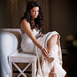 Getting Ready by Joseph Humphries - Wedding Bride ( gettingready, weddingdress, moment, candid, heels, bride )