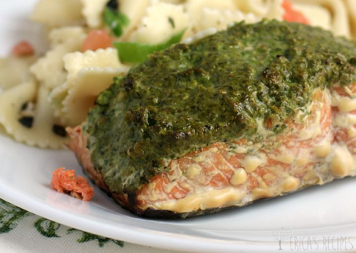 Smoked Sockeye Salmon with Arugula, Spinach, and Walnut Pesto
