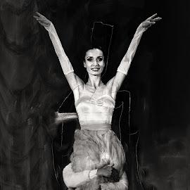 flight by Cornel Gingarasu - Black & White Portraits & People ( expression, face, hug, black and white, joy, ballerina, people, portrait, jump, flight, life, fly, hands, woman, brunette, ballet, dance, dancer )