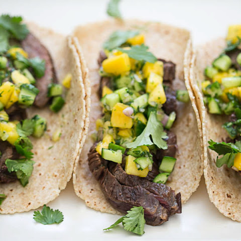 Thai Steak Tacos with Mango and Cucumber Salsa