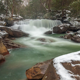 Early Winter Falls by Kevin Frick - Landscapes Waterscapes ( winter, west virginia, waterfall, rocks )