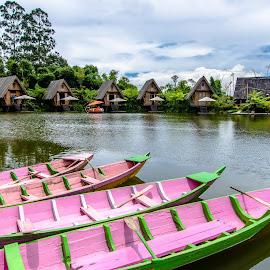 Lanscape  by Bobo Tandiono - Transportation Boats ( boat. lake.tree. houses. cloud )
