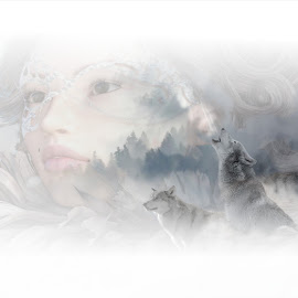 spitir of the wolves by Kathleen Devai - Illustration Sci Fi & Fantasy ( fantasy, heaven, wolf, woman, spirit )