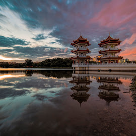 The Twin Pagodas @ Chinese Garden by Gordon Koh - City,  Street & Park  City Parks ( clouds, reflection, park, pagoda, sunset, asia, long exposure, lake, travel, singapore, chinese garden )