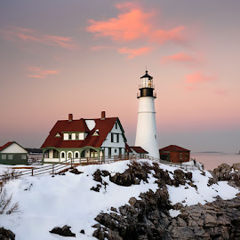 Lighthouse in snow by Sagarika Roy - Landscapes Travel ( clouds, portland, maine, lighthouse, ocean, travel, atlantic, landscape, coastal, usa, winter, nature, sunset, snow, landscape photography, nikon, light )