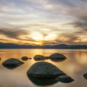 Sky is in love by Artem Kevorkov - Landscapes Waterscapes ( exposure, south lake tahoe, water, love, heart, california, sunset, tahoe, lake, rocks )