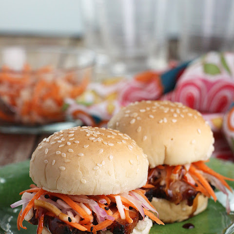 Spicy Asian Pork Belly Sliders with Sweet & Sour Slaw