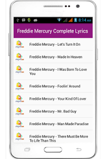 Freddie Mercury Full Lyrics - screenshot