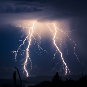 Double Trouble by Carrie Cole - Landscapes Weather ( lightning, nature, british, victoria, storm )