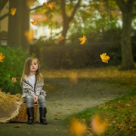 pout by Melissa Marie Gomersall - Babies & Children Child Portraits ( autumn, basket, falling, leaves, toddler, cute, posing, picnic )
