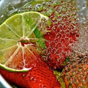 summer spash by Diana Margan - Food & Drink Ingredients ( colors, strawberries, fruits, bubbles, lemon )