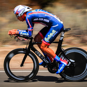 Flying by Jay Woolwine Photography - Sports & Fitness Cycling ( cyclist, bicycle racer, redlands bicycle classic, bicycle racing, time trial, bike racer, bike racing )