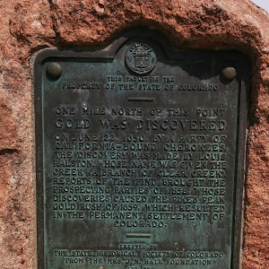 --THIS TABLET IS THE PROPERTY OF THE STATE OF COLORADO-- ONE MILE NORTH OF THIS POINT GOLD WAS DISCOVERED On June 22, 1850, by a party of California-bound Cherokees, the discovery was made by Louis ...